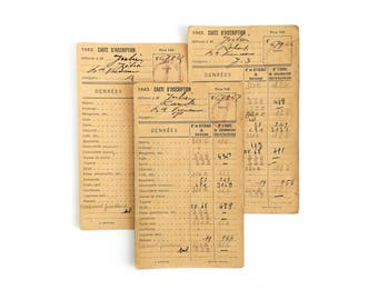 1943 - WWII - Set of 3 French Family's Ration Cards