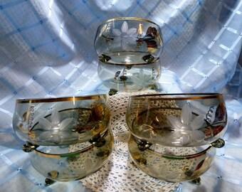 Vintage 3-Footed Pale Grey Glass Dessert Bowls - Set 6