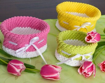 "PDF: Storage Baskets ""Collector's Delight"" in 7 sizes, Crochet Pattern"