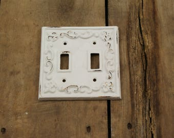 Cream White Cast Iron Double Light Switch Plate Covere