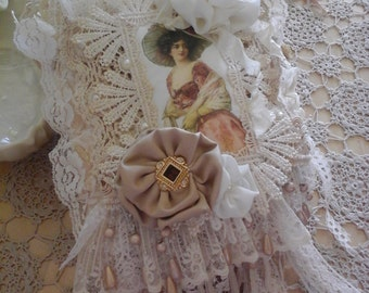 Vintage style fabric and lace book.