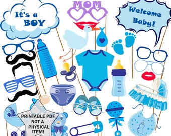 """Baby shower photo props: """"BABY SHOWER PROPS"""" Its a boy Printable Photo booth Props Team Blue Baby Boy Printable Party Props baby shower game"""