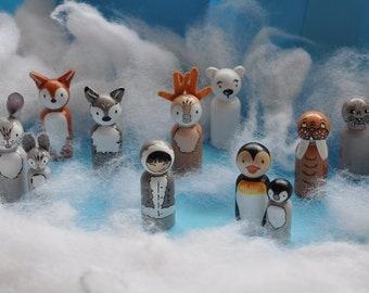 Peg dolls - cold - animals of the Arctic and Antarctic animals-