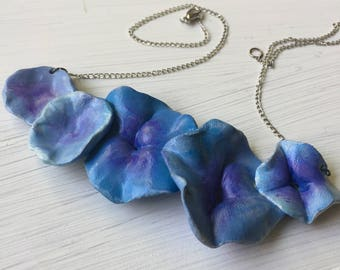 Blue Pansies Necklace