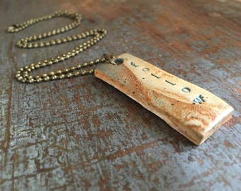 "Clay diffuser necklace ""follow"""
