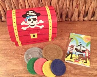 Pirate treasure, pirate chest, pirate coins, pirate notepad, treasure chest, party favour, pirate doubloon.