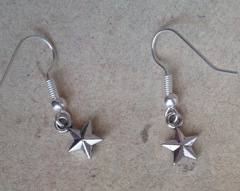 Star, Stars Earrings silver