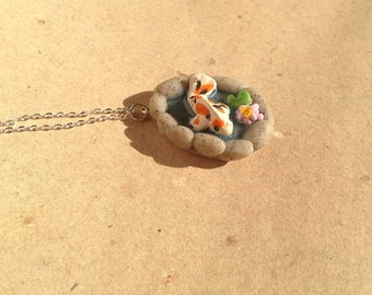 Koi fish in lily pond chain, necklace pendant