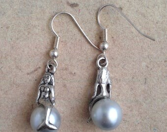 Mermaid on the bead, earrings silver
