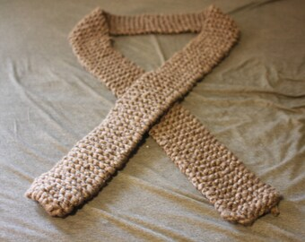 Brown Gray Knitted Scarf