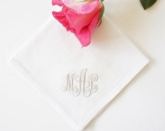 Monogrammed Handkerchief, Cotton Handkerchief, Personalized Handkerchief,  Bridal Handkerchief, Wedding Handkerchief