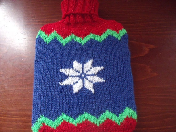 Christmas snowflake hot water bottle cover hand knitted