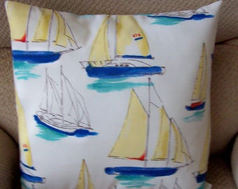 "Pillow Cover Sailboats yellow red blue 18"" tropical outdoor coastal handmade"