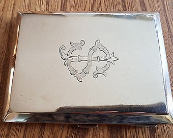Vintage Art Deco Solid Silver Cigarette Case - 1926