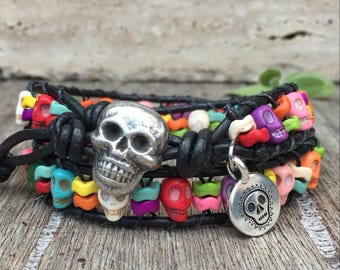 Double Wrap Leather Bracelet Day Of The Dead With Charm