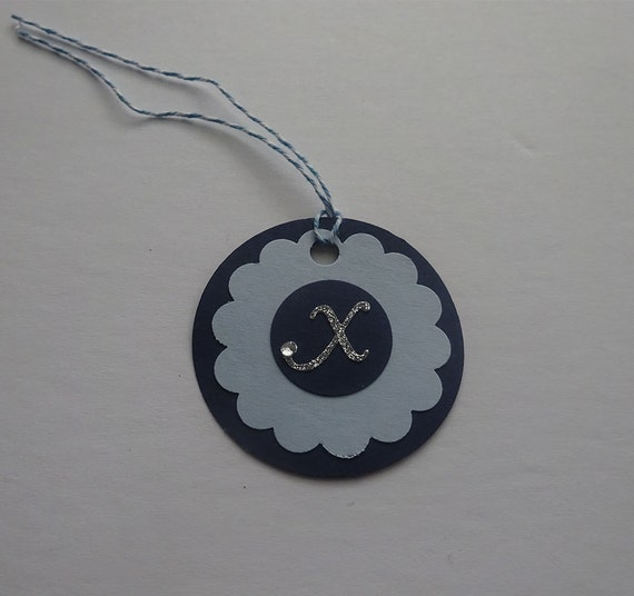 Handmade Personalized Circle Gift Tags - Dark Blue & Light Blue Circle Tag with Initial Letter - 2K