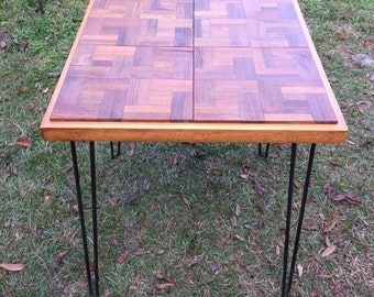 Teak Parquet topped table, Square Table,