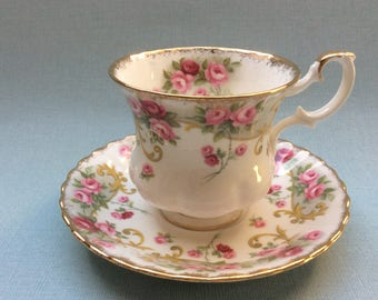 Vintage Royal Albert tea cup and saucer Sheraton series Rosemary, montrose shape, ladies size, floral teacup