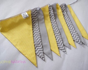Nursery Bunting Lemon and Grey Handmade Fabric Bunting - 10 Flags, 2 M - Lemon, Grey and Grey Chevron Fabric