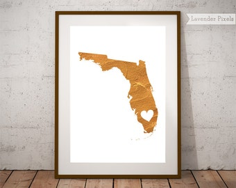 Florida Gold Foil Etsy - Map of gold in us