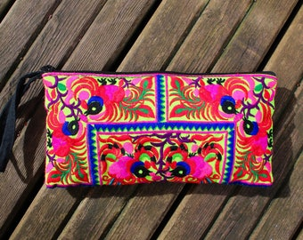Thai clutch bag, embroidered bag, Hmong textile, Hmong bag, bohemian bag, colourful bag, colourful clutch, funky bag