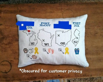 Custom Embroidered Military Pillow Cover, PCS Pillow, Military Gift, Military Retirement Gift,  Lumbar Cover, Home State, State Pillow