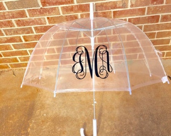 Clear Dome Umbrella Monogrammed birthday gift christmas gift