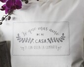 Quote pillow, handprinted...