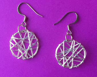 Small Silver Wire Wrapped Hoop Earrings