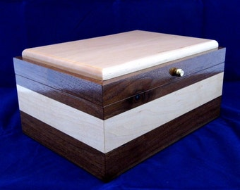 Handcrafted Black Walnut and Maple Keepsake Box #24 Handmade Memory Box with One Removable Tray