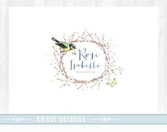 Watercolor Logo Premade Logo design Floral Logo Spring Logo Little Bird Logo design Butterfly logo