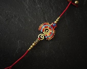 woman - ethnic bracelet - macrame bracelet beads bracelet - bracelet - jewelry - fancy bells bracelet
