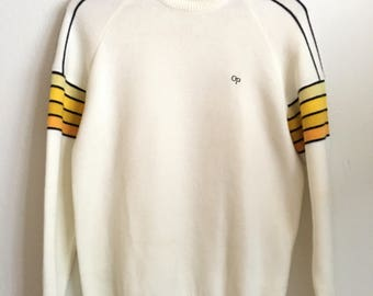 1980s OCEAN PACIFIC Op Weather Wear Minimal Stripes Basic Vintage Pullover Sweater // Size Large