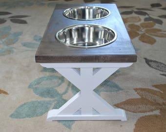 Large - Dog Bowl Stand - Raised Dog Feeder - Farmhouse Table - Elevated Dog Feeder - Dog Feeder - Dog Bowl Holder - Dog - Feeding Station