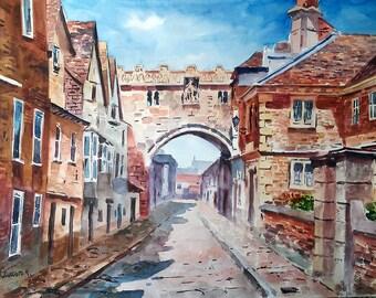 "Salisbury. Original watercolor 20"" x 13"" (50 X 35 CM). Jose Camero"