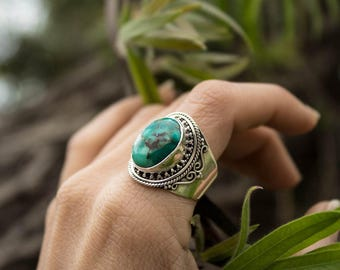 Natural Turquoise Ring, Handmade Sterling Silver Ring, Boho Ring, Silver Turquoise Ring, Turquoise Jewelry, Turquoise Stone Ring, Birthstone