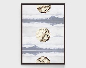 Geometric Gold Print, Golden Wall Art, Golden Dawn, Golden Circles Print, With Gold Foil Print, Abstraction, Modern Wall Art