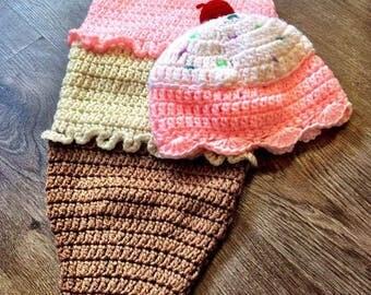Crochet Ice Cream Cone Baby Photo Prop, Crochet Baby Outfit, Baby Ice Cream Cone Outfit, Spring Baby Outfit, Spring Photo Prop Outfit