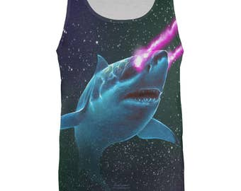 Galaxy Great White Shark Laser Beams All Over Mens Tank Top