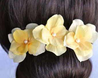 Set of 3 Handmade Yellow Hydrangea Flower Hair or Bobby Pins, Bridal, Wedding (Pearl-397)