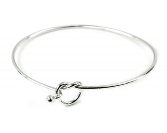 Sterling Silver Eternity Bangle - Silver Infinity Bangle - Silver Eternity Bracelet - Silver Infinity Bracelet - Knot Bracelet, Knot Bangle