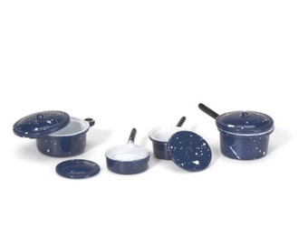 Miniature Pots and Pans with Lids, Mini Cookware, Mini Dishes for Fairy House, Fairy Gardens, Dollhouses, Terrariums, and Miniatures