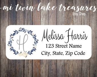 Floral Wreath Return Labels / Adhesive Address Labels / Guest Invitation, Mailing Labels / Boho Personalized Stickers / Blue Wreath Labels