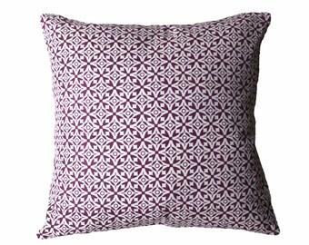Nila Handscreen Printed Cushion Cover - Royal Purple 60x60cm