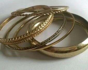Goldtone metal bangle bracelet set of 8 boho