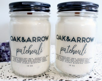 PATCHOULI//Soy Wax Wood Wick Candle//Hand Poured Soy Candle//10oz