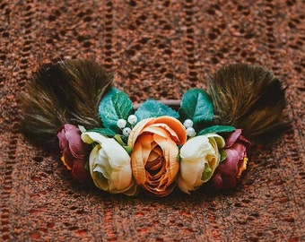 CUSTOM Boho Bear floral Crown, baby and momma size on a ribbon! Stays on well and is perfect for any season!!