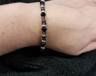 Black, silver, gunmetal and purple bracelet