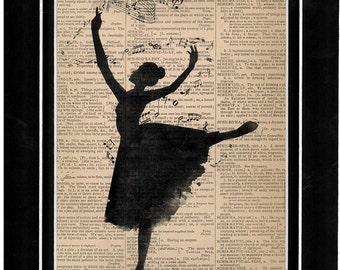 Vintage dictionary art woman dancing art print