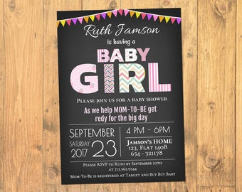 Baby Girl Shower Invitation, Baby Shower Invitation Girl, Shower Invitations, Printable Baby Shower Invitation, Instant Download, PDF